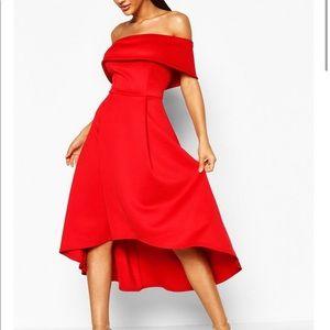 Red off the shoulder dress. High low hem size 4